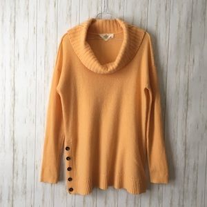 anthropologie • Peach Orange Cashmere Cowl Sweater